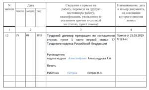 Уволить По Соглашению Сторон Запись В Трудовой Книжке Образец 2020