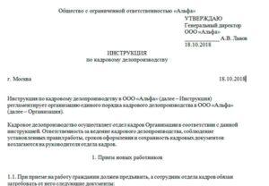 Инструкция По Кадровому Делопроизводству 2020 Образец